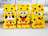 Hot Selling Lovely Cute SpongeBob SquarePants Case Cover 3D Charm Cartoon special Rubber Silicone Cover Case for iphone6 4.7inch