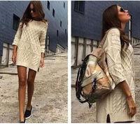 Europe Fashion Women's Loose Knitwear Tops 3/4 Sleeve Shirt Casual Sweater Dress