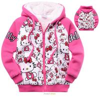 Retail-Girls kids winter thick cartoon hoodie coat out wear child hoody sweater