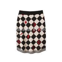 Free shipping women's fashion applique diamond lattice knit skirts