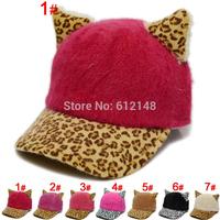 Wholesale new autumn winter woolen children baseball cap cartoon leopard baby baseball hat boys girls hats caps for 2-6T