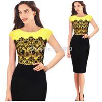 2014 New Elegant OL Summer Women Celebrity Style O-neck Sleeveless Sheath Shift Party Cocktail Patchwork dress 3136