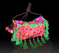 Unique Minority Tribal Peony Embroidery Shoulder Messenger Bag Handbags Women Casual Tablet Bags Plush Ball Charm 14 Tassels