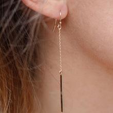 1Pair Free Shipping Women 2014 New Fashion Punk Jewelry Long 1 Shape Dangle Drop Tassel Earrings Gold Color