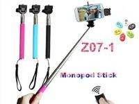 Z07-1 extensivel auto-retrato selfie vara portatil monope +remoto sem fio bluetooth controle do obturador para ios telefones