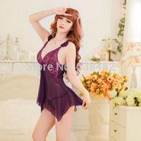 Sexy Lingerie Women's Lace Dress Underwear Black Babydoll Sleepwear + G-string