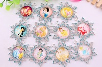 45MM mixed style snowflate rhinstone Cabochon Plating princess pendant for kids/girls chunky necklace Jewelry Wholesales Price