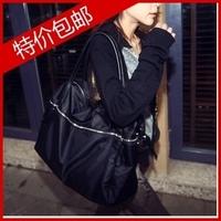 Casual one shoulder cross-body portable women's handbag large capacity travel super large bag canvas waterproof nylon black