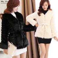 Hot Sale Fashion New Korean Style Women's Jackets Plus Size Women Winter Long Sleeve Female Fur Collar Rabbit Fur Coat 2150