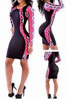 Black Tribal Patchwork Mini Dress  LC21818