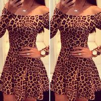 sprind and summer  slash neck off shoulder long sleeve leopard dress fashion women casual party dress