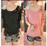 Korean fashion lace hollow design loose wool sweater bottoming shirt blouse 2014112503