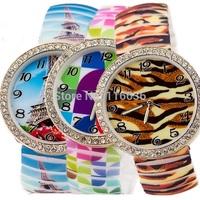 10pcs lot Assorted BIG flexible bracelet watch Leopard Paris Flowers Silicone Retro watches casual dress women Quartz wristwatch