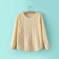 new autumn and winter women 's round neck T-shirt hem arc solid diamond twist sweater women sweater