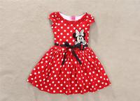 5pcs Children girl's 2014 summer Minnie Dot short sleeve dress with black Ribbons qz552