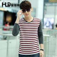2014 male autumn stripe long-sleeve slim t-shirt V-neck male top fashion basic shirt men's clothing