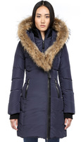 Free shipping By EMS int'l brand FITTED WINTER DOWN COAT WITH REAL  FUR HOOD women's luxury  down jacket in winter outdoor DT300