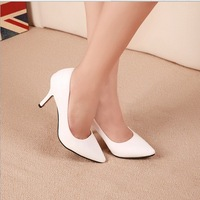 "Hot sale women pumps 2014 medium high 3"" and up pointed closed toe thin high heels PU leather party shoes black/ white color"