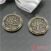 (28898)Diy Jewelry Accessories,Vintage Charms & Pendant 25MM Antique Bronze Alloy Round Tree pendants 10PCS