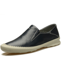 free shipping spring and autumn male casual shoes round toe foot comfortable leather wrapping genuine leather male shoes