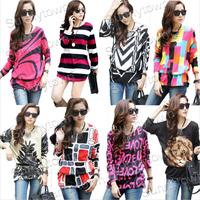 Plus size Hot sale 2014 autumn winter patchwork Animal striped Letter flower print long sleeve t-shirts women blouse shirts