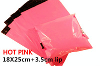 [cnklp]-Hot Pink 18x25cm+3.5cm lip Co-extruded Multi-layer SELF SEAL POLY MAILERS BAGS ENVELOPE [100PCS]