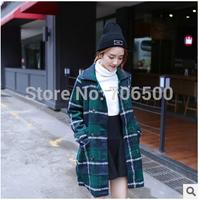 The new south Korean style ladies fashion 2014 ~ joker lattice double-breasted woollen coat lapels