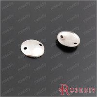 (28858)Diy Jewelry Accessories,8MM Imitation Rhodium Copper 2 hole Arcuated Round disk 100PCS