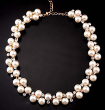 Hot sales temperament fashion jewelry pendant crystal pearl bib necklace chain statement