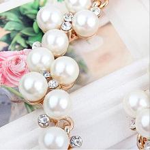 Hot sales temperament fashion jewelry pendant crystal pearl bib necklace chain statement