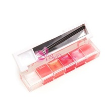 New Arrival Girl Woman Pro 6 Color Makeup Lip Gloss Lipstick Cream Palette Set#61264