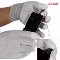 2pcs M-L Size Gray ESD Safe Anti-static Anti-skid PU Finger Top Coated Work Gloves for Electronic Works