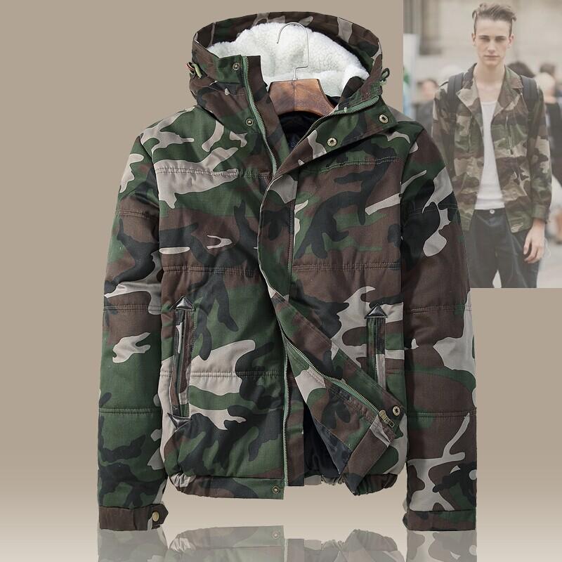 New Mens Fleece Camouflage Coat Zipper denim thicken jacket coat Men Warm Clothes Hoodies Free shipping(China (Mainland))