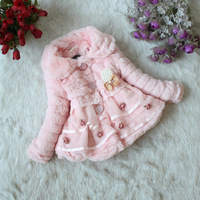2-5Year Baby Girl Winter Clothes Toddlers Faux Fur Winter Coat Warm Fleece Lined Jacket With Pearl,Pink Yellow White