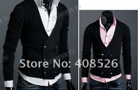 Free Shipping Men's Knitwear Cardigan Fake Pocket Design Slim Casual Sweater Coat S M L XL Wholesale