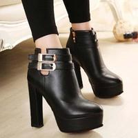 Europe 2014 Super waterproof belt buckle chunky heels high heel short boots Martin spring and autumn winter boots