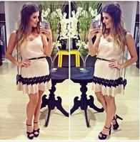new 2015 women summer vestidos casual dresses fashion lace dress women's v-neck fashion party dress vestido de festa