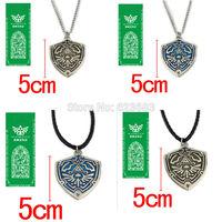 30pcs/lot Anime Game The Legend of Zelda Shield Matel/leather Necklace Pendant