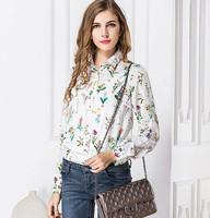 New Women Chiffon Shirt 2014 Fashion Casual Floral Printing Long Sleeve Slim Collar Blouses Women Clothing Feminious S-XL