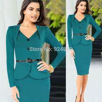 2015 Hot sales women  Bandage Bodycon Dress button have belt  Party Work Dresses Knee-length 3259#