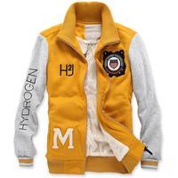 Top quality 2015 fashion men fleece sweatshirt embroider man hoody winter coat baseball outwear 2 colors M L XL XXL