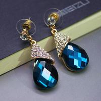Fashion Charm Long Dangle Earrings Jewelry, Vintage Luxury Golden Plated Water Drop Crystal Earrings For Women 2014 XHP026