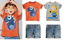 Retail 2015 New arrive Summer children's clothing set Outfits Sets Kids Cloth boys 2 pcs set  cartoon T-shirts + denim shorts