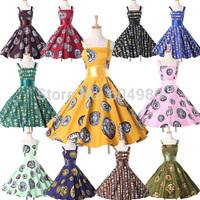 2015 Cotton Vestidos Polka Dots Audrey 50s 60s Rockabilly Women Vintage Retro Swing Pinup Evening Party Dress plus size 6293
