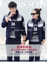 Sweethearts outfit fleece three-piece plus velvet upset female cap of 2014 autumn winters is recreational sport suit