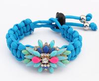2014 Shourouk Statement Bracelet Resin Flower Charm Bracelet Hand - Woven Rope Bracelets & Bangles pulseras mujer SL106863