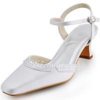 "Fashion  Shoes EP11033  White Square Toe 2""  Euro 41US 10  Chunky Heel Slippers Rhinestone Satin Women's Wedding Shoe"