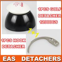 Universal magnetic detacher  EAS Hard Tag 1pc superlock golf detacher 12000gs+ 1pc hook detacher eas hook
