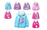 2015 Frozen coat Winter hoodies Elsa warm outwear Princess clothes Christmas gifts children Sweatshirts