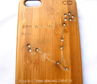 Carved Pisces Zodiac Sign w/ Rhinestone Natural Wood Cell Phone Case for iphone 5 5s